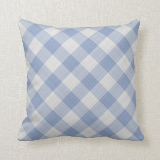 Cornflower Blue Country Cottage Gingham Stripes Throw Pillow