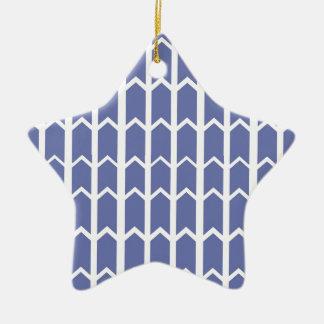 Cornflower Blue Panel Fence Ceramic Star Ornament