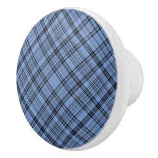 Cornflower Blue Plaid Ceramic Knob