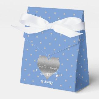 Cornflower Blue Polka Dots Party Favor Boxes