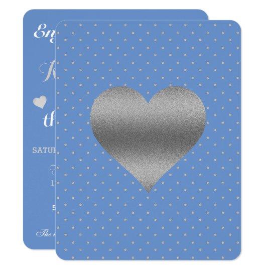Cornflower Blue & Silver Polka Dot Party Card