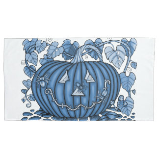 Cornflower Blue Spidery Pumpkin Pillowcase