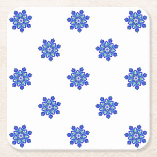 Cornflower blue star kaleidoscope square paper coaster
