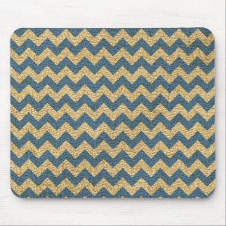 Cornflower Blue Tan Canvas Chevron Pattern Mouse Pad