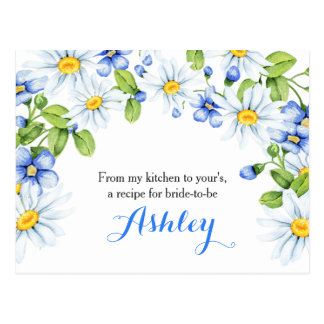 Cornflower Blue White Daisy Floral Recipe Card