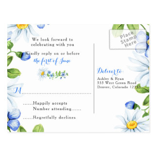 Cornflower Blue White Daisy Floral Wedding RSVP Postcard