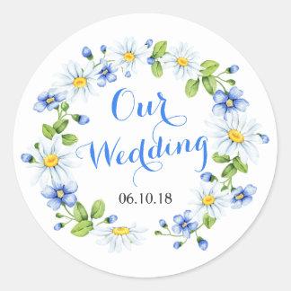 Cornflower Blue White Daisy Flower Floral Wedding Classic Round Sticker