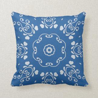 Cornflower Blue White Scroll Print Throw Pillow