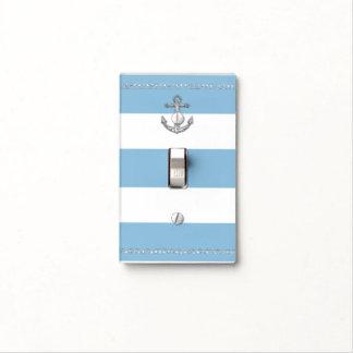 Cornflower Blue & White Stripes Diamond Anchor Light Switch Cover