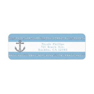 Cornflower Blue & White Stripes Diamond Anchor Return Address Label