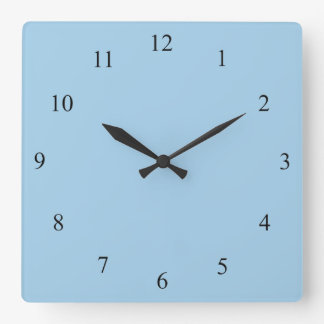 Cornflower Blue with Black Numbers Wall Clock