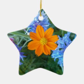 Cornflower & chamomilla ceramic star ornament
