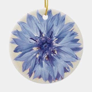 Cornflower Round Ceramic Ornament
