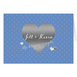 Cornflower Silver Heart Polka Dots Party Note Card