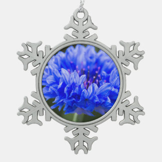cornflower snowflake pewter christmas ornament
