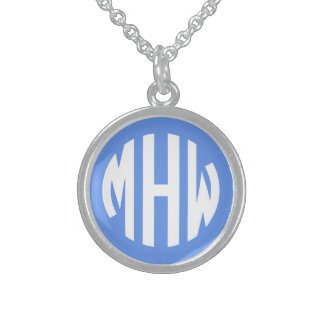 Cornflower White 3 Initials in a Circle Monogram Sterling Silver Necklace