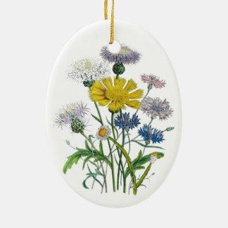 Cornflowers Ceramic Oval Ornament