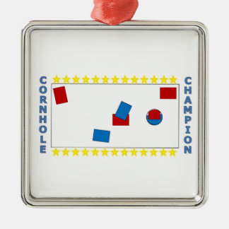 Cornhole Champion Silver-Colored Square Ornament