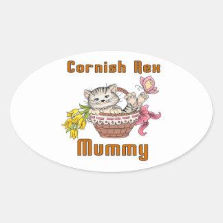 Cornish Rex Cat Mom Oval Sticker