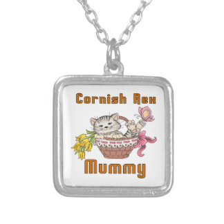 Cornish Rex Cat Mom Silver Plated Necklace