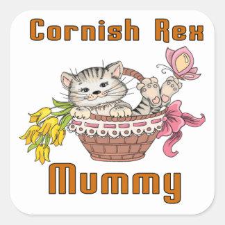 Cornish Rex Cat Mom Square Sticker
