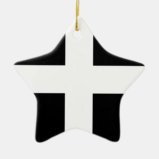 Cornish Saint Piran's Cornwall Flag - Baner Peran Ceramic Star Ornament