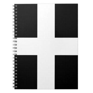 Cornish Saint Piran's Cornwall Flag - Baner Peran Notebook