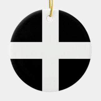 Cornish Saint Piran's Cornwall Flag - Baner Peran Round Ceramic Ornament