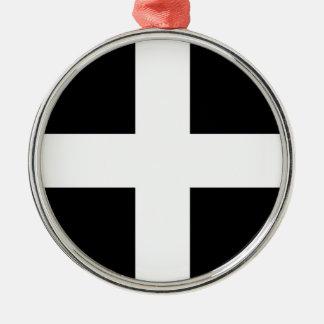 Cornish Saint Piran's Cornwall Flag - Baner Peran Silver-Colored Round Ornament