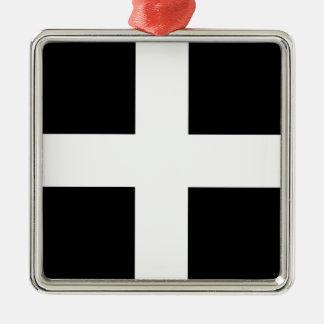 Cornish Saint Piran's Cornwall Flag - Baner Peran Silver-Colored Square Ornament