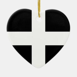 Cornish Saint Piran's Flag - Flag of Cornwall Ceramic Heart Ornament