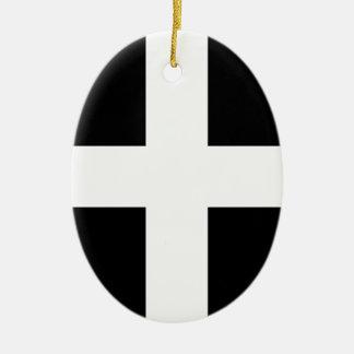 Cornish Saint Piran's Flag - Flag of Cornwall Ceramic Oval Ornament