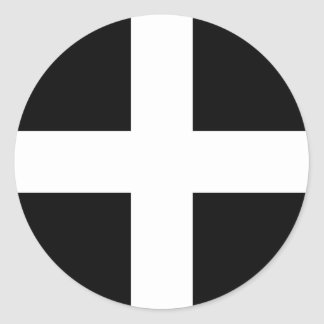 Cornish Saint Piran's Flag - Flag of Cornwall Classic Round Sticker