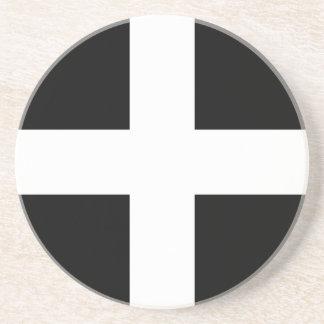 Cornish Saint Piran's Flag - Flag of Cornwall Coaster