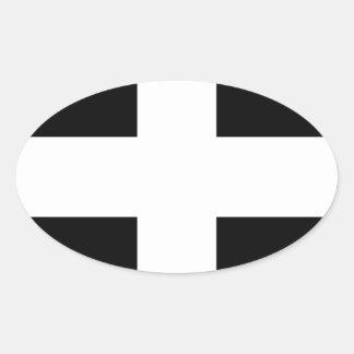 Cornish Saint Piran's Flag - Flag of Cornwall Oval Sticker