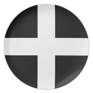 Cornish Saint Piran's Flag - Flag of Cornwall Plate
