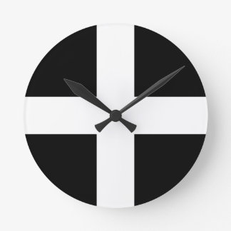 Cornish Saint Piran's Flag - Flag of Cornwall Round Clock