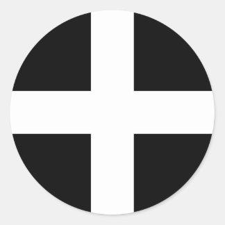 Cornish Saint Piran's Flag - Flag of Cornwall Round Sticker