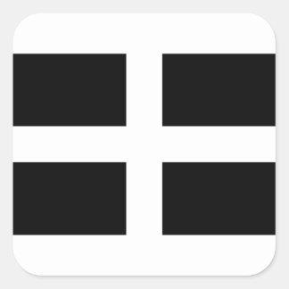 Cornish Saint Piran's Flag - Flag of Cornwall Square Sticker