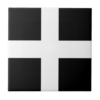 Cornish Saint Piran's Flag - Flag of Cornwall Tile