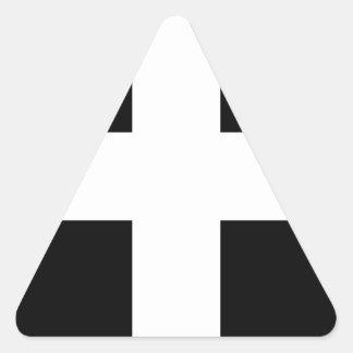 Cornish Saint Piran's Flag - Flag of Cornwall Triangle Sticker