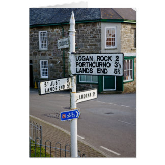 cornish signpost depicting Lands End Card