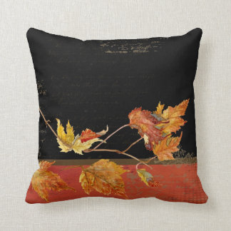 Cornucopia Autumn Harvest Leaves Pomegranate grape Throw Pillow