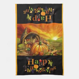 Cornucopia Happy Thanksgiving Text Kitchen Towel
