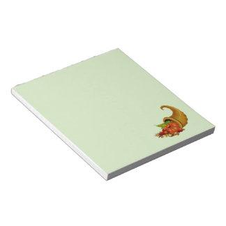 Cornucopia / Horn of Plenty Green Notepad