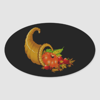 Cornucopia / Horn of Plenty Oval Sticker