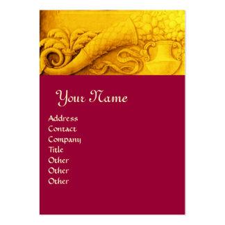 CORNUCOPIA  MONOGRAM ,bright gold yellow red Business Card Template