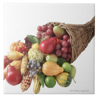 Cornucopia of fruit and vegetables tile