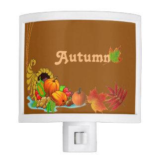 Cornucopia on Autumn Night Light w/Fall Leaves