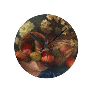 Cornucopia Round Clock